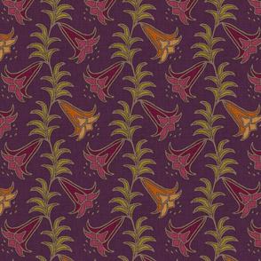 trumpet lily on purple