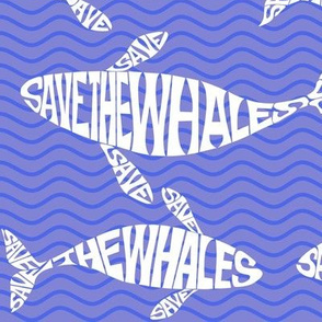 Save the whale on blue