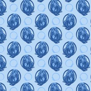 Collared Bloodhound portraits - blue