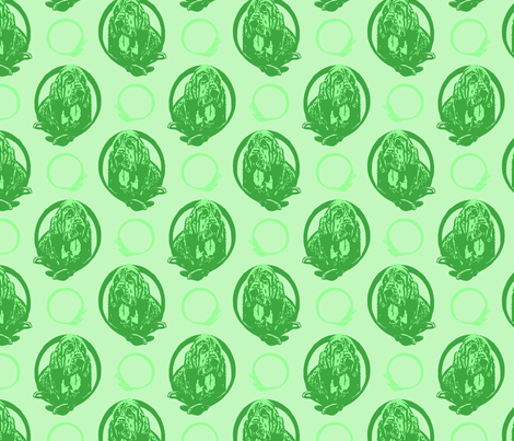 Collared Bloodhound portraits - green fabric by rusticcorgi on Spoonflower - custom fabric