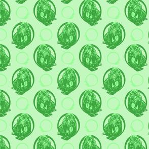 Collared Bloodhound portraits - green