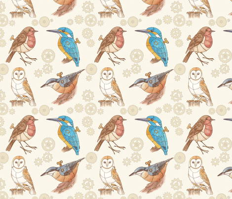 Steampunk Clockwork Birds fabric by hazelfishercreations on Spoonflower - custom fabric