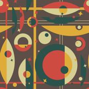 Mid-Century Modern - Circle Grid & Stars
