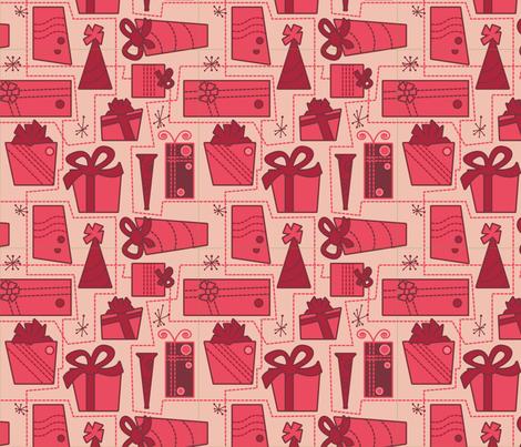 Gifts (red) fabric by studiofibonacci on Spoonflower - custom fabric