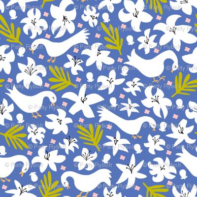 lily + palm (blue glory)