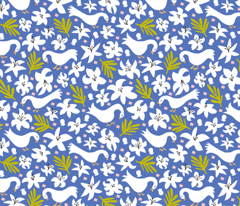 lily + palm (blue glory) fabric by pattyryboltdesigns on Spoonflower - custom fabric