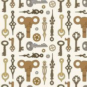 Steampunk keys, clock hands and cogs