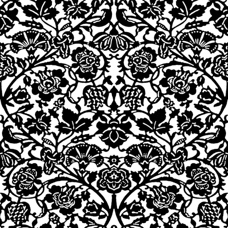 Kensington Damask ~ Black and White fabric by peacoquettedesigns on Spoonflower - custom fabric