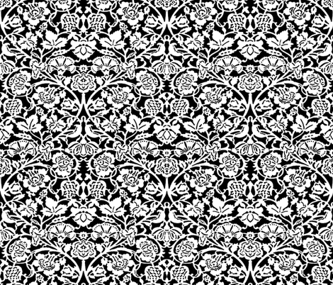 Kensignton Damask ~ White and Black fabric by peacoquettedesigns on Spoonflower - custom fabric