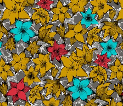 lilies_contest fabric by fox_&_usagi on Spoonflower - custom fabric
