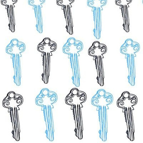 Blue and white keys