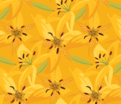 Sunshine Day Lilies fabric by robinpickens on Spoonflower - custom fabric