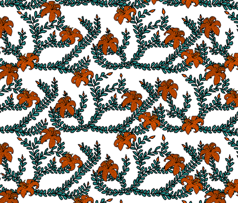 Classic Tiger Lillies fabric by pond_ripple on Spoonflower - custom fabric