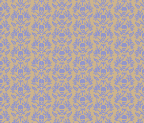 Violet Sand damask skulls fabric by kittenstitches on Spoonflower - custom fabric