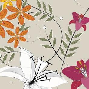 whitepinkorange lilies
