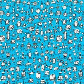 Robots-01, white on blue