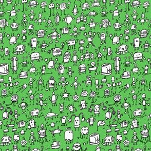 Robots-01, white on green