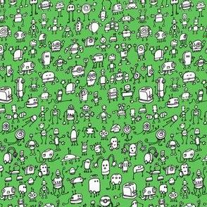 Robots-01, white on green