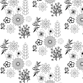 Black and White Floral