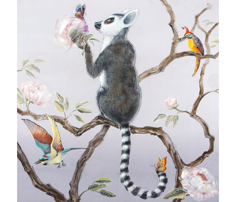 Lemur and Butterfly fabric by jenoiserie on Spoonflower - custom fabric