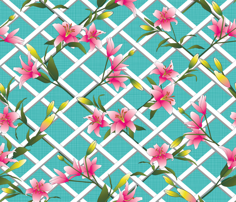 Julie's Lilies Garden fabric by juliesfabrics on Spoonflower - custom fabric