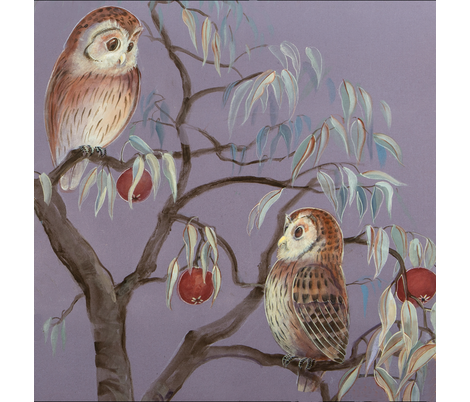 Owls and Pomeganates fabric by jenoiserie on Spoonflower - custom fabric