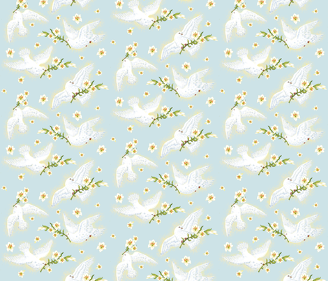 Victorian Easter Lilies & Doves fabric by helenpdesigns on Spoonflower - custom fabric