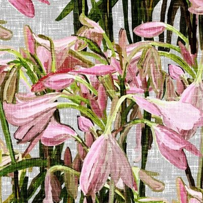 Sparse Easter lilies on gray canvas by Su_G_©SuSchaefer