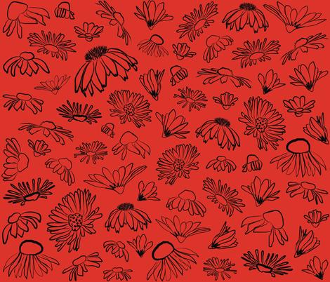 Wildflowers Blood Orange fabric by pennyroyal on Spoonflower - custom fabric