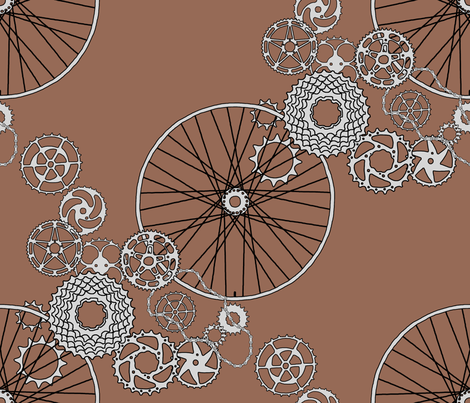 """Beautiful bicycle parts - """"hot chocolate""""- FQ size repeat fabric by victorialasher on Spoonflower - custom fabric"""