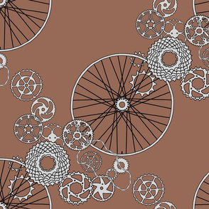 """Beautiful bicycle parts - """"hot chocolate""""- FQ size repeat"""