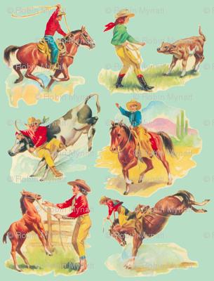 Cowgirl  Cowboy western Rodeo  Aqua