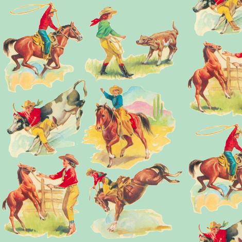 Cowgirl  Cowboy western Rodeo  Aqua  fabric by parisbebe on Spoonflower - custom fabric