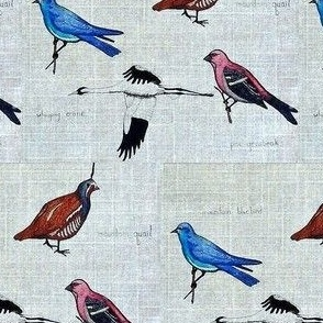 Four Rocky Mountain Birds / linen