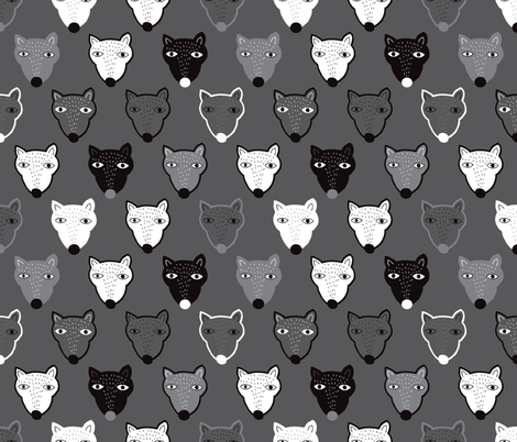 Quirky wolf grizzly bear in black and white fabric by littlesmilemakers on Spoonflower - custom fabric