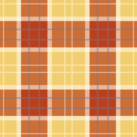 Craigowan Tartan ~ Provence ~ Rococo Gold, White, Turkey Red and Chevalier fabric by peacoquettedesigns on Spoonflower - custom fabric