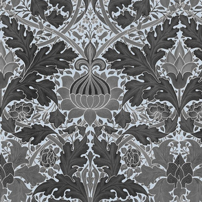 William Morris ~ Growing Damask ~ Grey on Versailles Fog