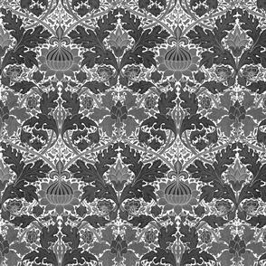 William Morris ~ Growing Damask ~ Black and White