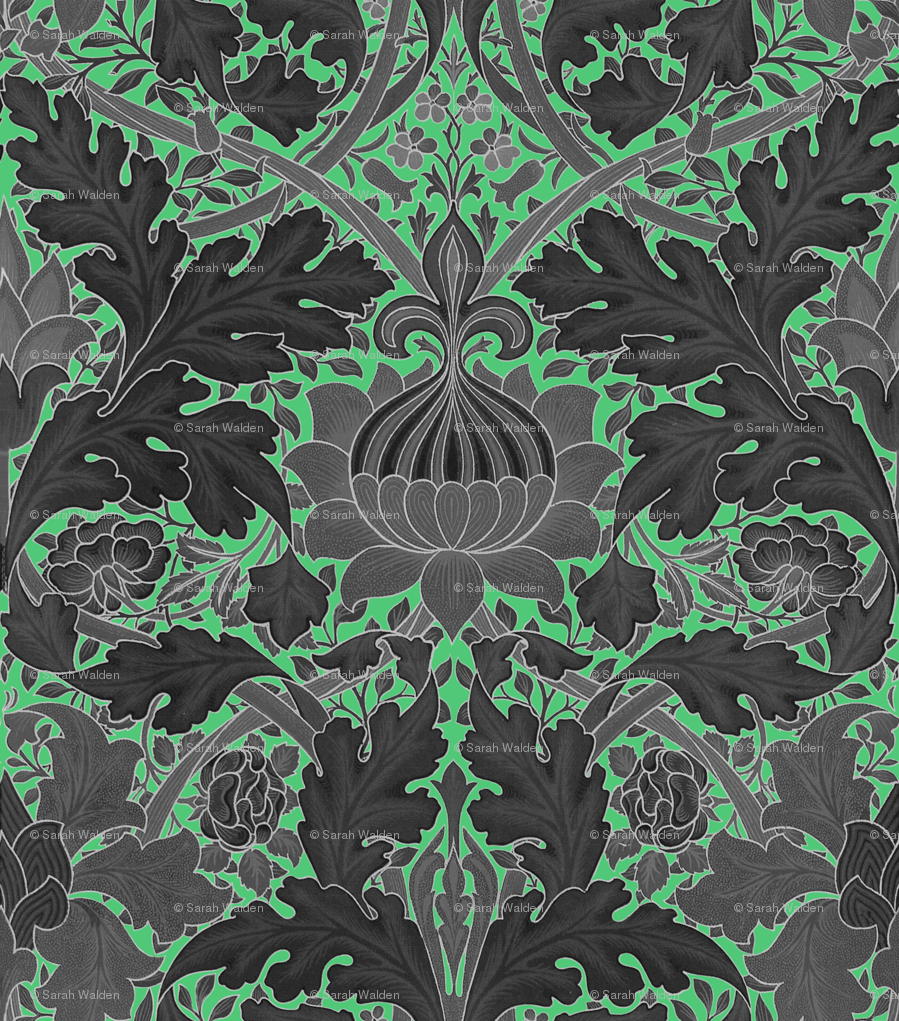 William Morris Growing Damask Paris Green And Black