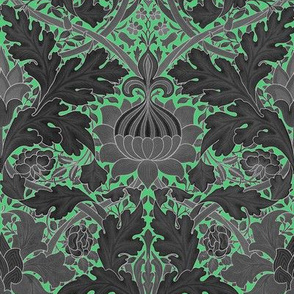 William Morris ~ Growing Damask ~ Paris Green and Black
