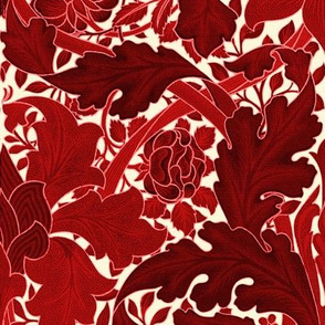 William Morris ~ Growing Damask ~ Red on Hameau