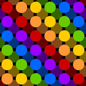 Floating Rainbow Circles on Black