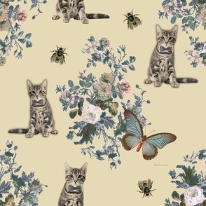 Cream Kitties Floral