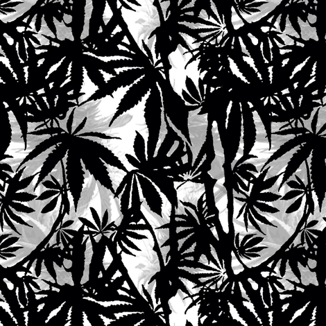 B&W 420 Leaves & Buds fabric by camomoto on Spoonflower - custom fabric