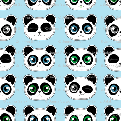 Panda Expressions Blue