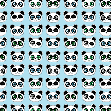 Panda Expressions Blue fabric by jannasalak on Spoonflower - custom fabric