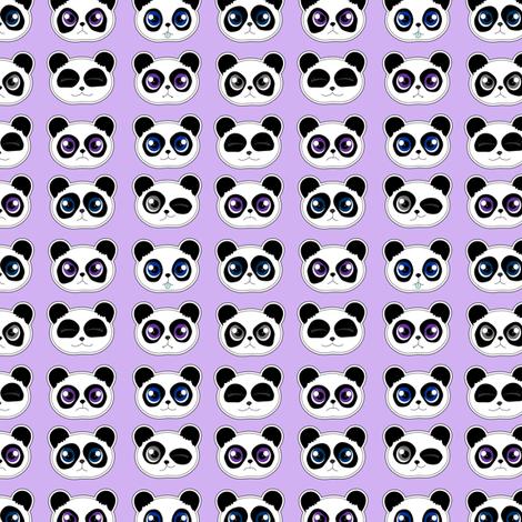Panda Expressions Purple fabric by jannasalak on Spoonflower - custom fabric