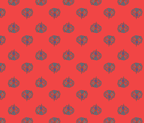Persian flowers - red fabric by randomarticle on Spoonflower - custom fabric