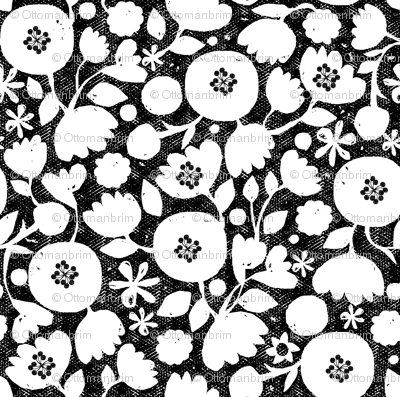 clear cut flowers - black and white