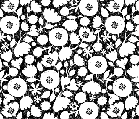 clear cut flowers - black and white fabric by ottomanbrim on Spoonflower - custom fabric